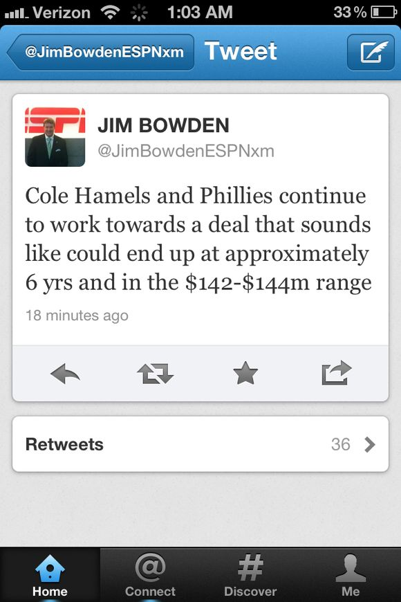 Cole Hamels' Deal With the Phillies Could Be $144-148 Million